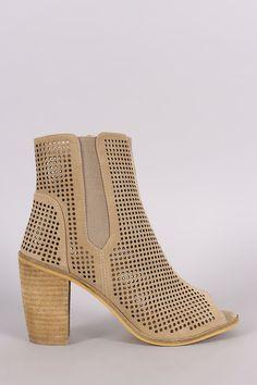 Perforated Peep Toe Chunky Heeled Booties