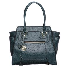 London Fog Knightsbridge Teal Ostrich Embossed Tote Bag GOT THIS FOR MY BIRTHDAY!