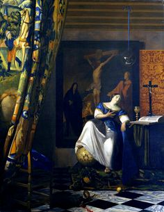 """Allegory of the Faith""  --  Circa 1670-74  --  Johannes Vermeer  --  Dutch  --  Oil on canvas  --   Metropolitan Museum of Art"