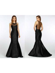 Lazaro Noir black mikado trumpet bridesmaid gown f14ec27a17a1