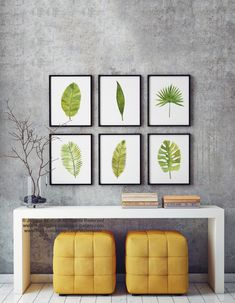 Palm Leaf Watercolor Painting Set 6 Different Palm Tree Leaves, Banana, Coconut, Date, Tropical Monstera Abstract Art Print Green Wall Decor by ColorWatercolor on Etsy