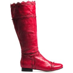 AMATO | Cinori Shoes #cinori #djangojuliette #cinorishoes #texture #kneehigh #boots #red #leather #flatheel #pattern