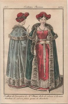 Velvet dress and velvet cloak trimmed with chinchilla fur, Journal des Dames et des Modes, 1825.