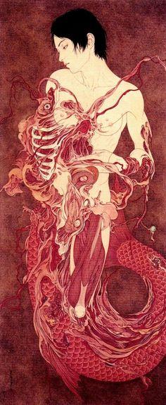 Original painting by Takato Yamamoto quotDEATHquot Previously Art And Illustration, Illustrations, Arte Horror, Horror Art, Inspiration Art, Art Inspo, Tag Art, Ero Guro, Art Asiatique
