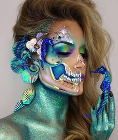 Insane Halloween Makeup Ideas to Try This Year seahorse skull Loading. Insane Halloween Makeup Ideas to Try This Year seahorse skull Halloween Looks, Halloween Face Makeup, Halloween Ideas, Mermaid Halloween Makeup, Halloween Costumes, Scary Halloween, Carnival Costumes, Halloween Stuff, Happy Halloween