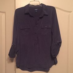 Button-Up Blouse, Dark Grey Old Navy dark grey 100% polyester button up blouse. Long sleeve but has buttons so you can roll them up and fasten. Excellent condition. Never wore this shirt! Size LARGE Old Navy Tops