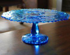"Blue Cake Stand / 13"" Vintage Cake Plate Pedestal / Vintage Glass Cake Stand Cupcake Stand Pedestal for Truffle Petit Four Macaron Cake Pop on Etsy, $200.00"
