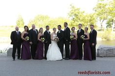 Purple Passion. Our experienced floral designers helped make our bride's dreams come true with the perfect balance of colour to compliment the entire wedding party. Flowers by www.reedsflorists.com Bridesmaid Dresses, Wedding Dresses, Compliments, Floral Design, Designers, Passion, Colour, Dreams, Purple
