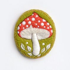 Toadstool needle felt and embroidery brooch by cOnieco on Etsy