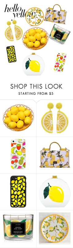 """Yellow: we all need Vitamin C"" by nata-natas-me ❤ liked on Polyvore featuring Kenneth Jay Lane, Dolce&Gabbana, Casetify, Edie Parker, Avon, Pier 1 Imports, PopsOfYellow and NYFWYellow"