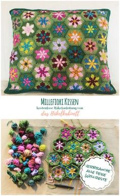 Beautiful flower pillow pattern to use up your remaining scrap yarn - knit and crochet daily, .Beautiful flower pillow pattern to use up your leftover scrap yarn - knit and crochet daily, crochet Crochet Pillow Patterns Free, Crochet Motif, Crochet Flowers, Free Crochet, Knitting Patterns, Blanket Patterns, Diy Flowers, Crochet Squares, Mandala Crochet