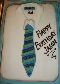Shirt and tie fondant cake. Cake is chocolate andes mint flavor with mint buttercream filling!!