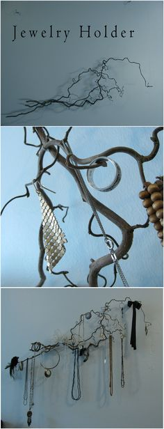 Branch Holder/Decoration. Holds jewelry/keys. You need branches, clear fishing line and 2 hooks. String & small nails are optional    1. Get some branches. I used the branches of Corkscrew Hazel (Corylus Avellana Contorta). Pick the branches that have the most fascinating curves.    2. Compose the branches into nice formation & tie together with the fishing line/string, so that they stay put.    3. Hang it to the wall with the fishing line. For extra hanging space, nail small nails to…