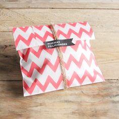 Sacos de papel chevron vermelho - Pack de 12 ud