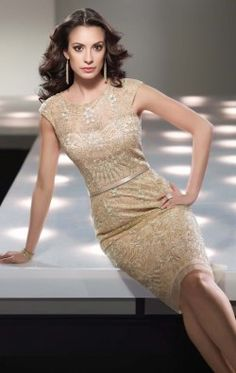Metallice Lace Dress by Social Occasions by Mon Cheri 214839