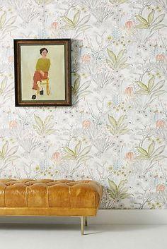 Flowering Desert Wallpaper by Anthropologie in Green, Wall Decor Wood Wallpaper, Unique Wallpaper, Bathroom Wallpaper, Office Wallpaper, Wallpaper Manufacturers, Wallpaper Stores, Romantic Room, Temporary Wallpaper, Monochrom