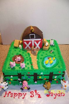 Birthday cake ideas for kids farm animals 61 Ideas<br> Farm Birthday Cakes, Animal Birthday Cakes, Farm Animal Birthday, Cowboy Birthday, 2nd Birthday Parties, Half Birthday, Birthday Ideas, Barnyard Cake, Barnyard Party