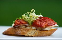 Bruschetta with Roasted Tomato, Ricotta and Prosciutto