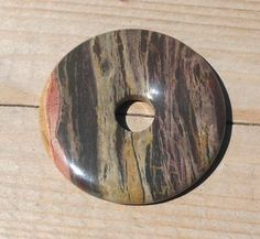 40mm Natural Apple Jasper Stone Donut Pendant, Red Stripes, Purple Hues, Tans, DIY Supply - pinned by pin4etsy.com