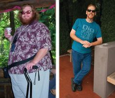 "Before and after 300 lbs loss - Norm: I eat a low-fat plant-based whole-food starch-centered diet. I eat some fruit, plenty of vegetables, but mostly whole food starches. When I say ""starches"" I mean foods like oats, barley, quinoa, rice, potatoes, pasta, beans, corn, squash, etc. Vegetables I eat raw or lightly steamed. I do not eat animal products. In general I do not use any oils or fats in my cooking."