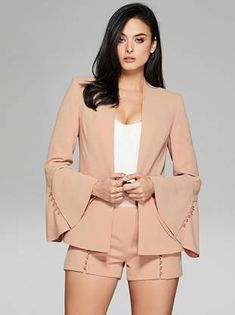 Polished sophistication comes easy with this crepe woven blazer designed with statement-making bell sleeves and shiny gold-tone buttons | MARCIANO.com