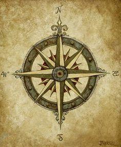 Compass Rose Print by Judy Merrell