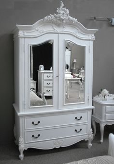 2 Door Mirrored Armoire with 2 Drawers