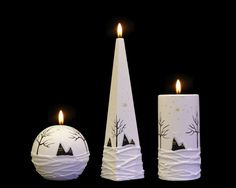 Handmade and Decorated Christmas Candle Cozy Home Cylinder Pyramid Ball Beautiful Candles, Christmas Candle, Handmade Candles, Cozy House, Pillar Candles, Lights, Crafts, Home, Decor