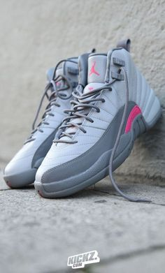 9fefc13ea8e Forget 50 shades of grey and check the 2 shades of grey and a bit of.  Jordans SneakersNike Air JordansPink And Grey JordansRetro JordansWolf ...
