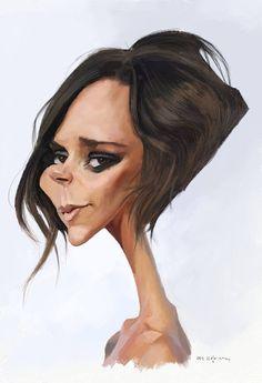 Caricatura de la ex-Spice Girl Victoria Beckham, realizada por el artista Olle Magnusson.     Victo...