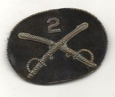 CIVIL WAR 2ND CAVALRY  OFFICERS SMALL CR0SSED SABERS KEPIE PATCH INSIGNIA