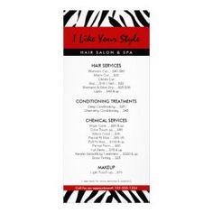 Beautifully designed menus and price lists for salons | salon ...