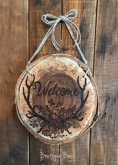 Welcome/Wood Sign/Antlers/Woodburned Art/Birch/Lake House Decor/Cabin Decor/farmhouse decor/Rustic Decor/Handmade Gift/Housewarming Gift
