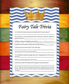 Baby Shower Game, Fairy Tale Trivia, Shower Game, Royal Blue and White, Prince, Crown, Baby, Printable, Instant Download - TFD365 by TipsyFlamingoDesigns on Etsy
