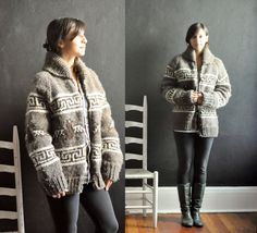 Vintage Cowichan Cardigan Sweater Jacket Hand Knit by drowsySwords, $170.00