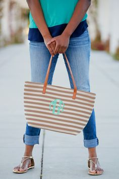 Monogrammed Khaki Stripe Charlotte Purse with Mint Thread and Circle Font
