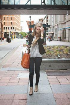 Sam Edelman Petty boots on zipped: blazer monday | @Chelsea Rose Rose Lane