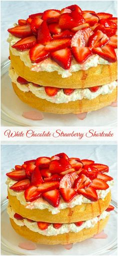 Strawberry shortcake with white chocolate whipped cream using a classic sponge cake is a simple, easy, elegant dessert that appeals to practically everyone.An ideal dessert for Canada Day too!