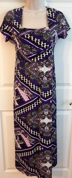 Studio West Apparel Medium Funky Purple Paisley Maxi Dress Short Sleeve M | eBay