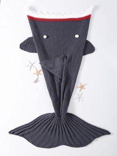 Grey knitted shark blanket