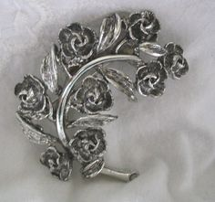 SALE, Jewelry, Vintage, Brooch, Pin, Rhodium, Roses, Silver Branch of Roses, Mad Men Jewelry by footbridgecove1 on Etsy