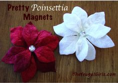 Pretty Poinsettia Magnets Tutorial! {quick and easy craft!} at TheFrugalGirls.com #Christmas #crafts