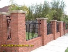 Image result for red brick wall with pillar