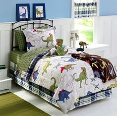 Dinosaurs DINOS TWIN Comforter, Sheet Set, Sham + Home Style Sleep Mask (6 Pc Bedding Bundle) Green White Blue Red