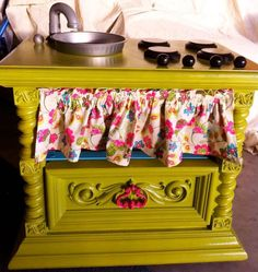 DIY kids kitchen from a dresser.  Might have to check out the thrift stores.