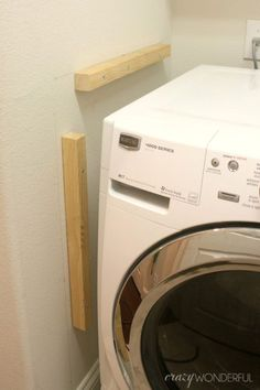 Wonderful Small Laundry Room Design Ideas With Modern: DIY Built In Washer + Dryer - Crazy Wonderful Laundry Room Remodel, Laundry Closet, Laundry Room Organization, Small Laundry, Laundry Room Design, Laundry In Bathroom, Bathroom Closet, Closet Redo, Laundry Rooms