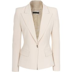 Plein Sud - clean and elegant! Cream coloured blazer in classic waisted cut made of a high-quality viscose and wool blend with elastane content. With one button...