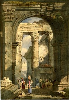 View of ruins of a church, with a round arch supported by a pilaster in foreground, and fluted columns and a pillar supporting an architrave in middle ground; figures standing in groups and a woman walking with a jug on her head with her back turned; fallen building stones in foreground at left.  Lithograph with hand-colouring