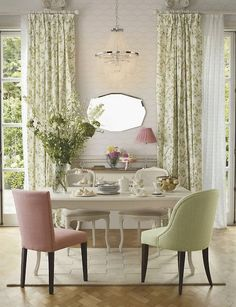 casual dining room, pink & green