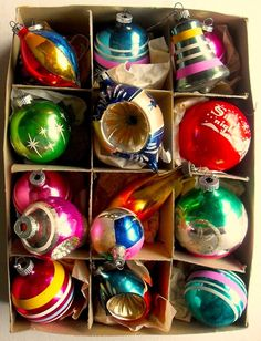 Vintage Shiny Brite Christmas Ornaments...My absolute favorite thing to collect - via Art Skool Damage